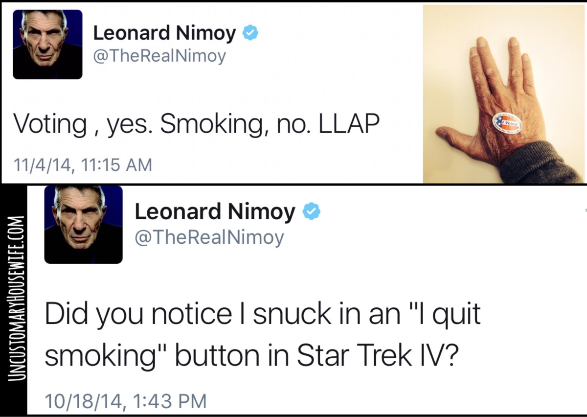 Spock Wants You To Stop Smoking