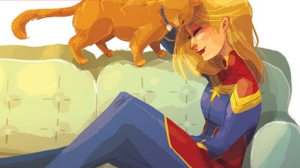 Goose the Cat and Captain Marvel cuddling art created by Penelope R. Gaylord.