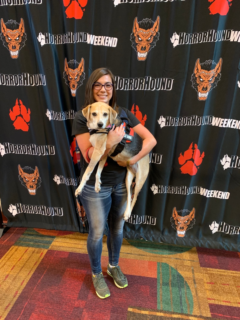 Me and my service dog at a horror film convention.