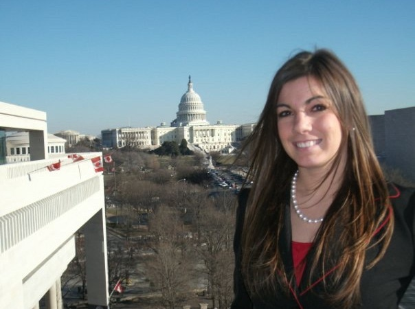 Me standing on the balcony of the Newseum in Washington, D.C. The United States Capitol is in the background. This photo was taken in 2010 during my seminar at The Washington Center.
